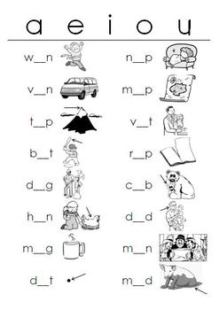 Short Vowels WORKSHEETS Fill-in-the-Blanks by Reading