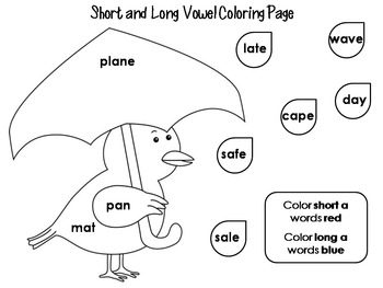 Short and Long Vowel Coloring Worksheets- Spring Theme by