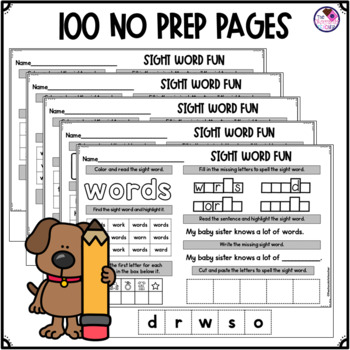 Fry's Sight Word Worksheets 1st Hundred Words NO PREP by