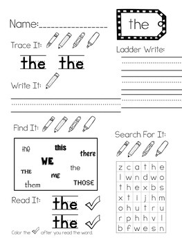 Fry Sight Word Activity Pages: First 50 by Back to Basics