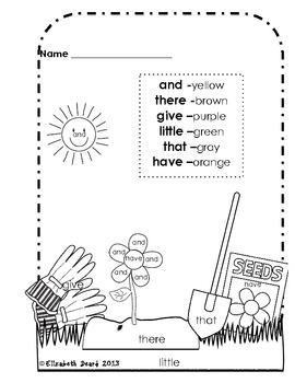 Sight Word Coloring Kindergarten: Spring Theme by