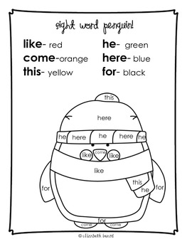 Sight Word Coloring Kindergarten: Winter Themed by