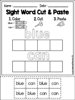 Sight Word Cut and Paste Worksheets (Pre-Primer) by