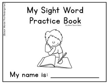 Sight Word Practice Book Dolsch Words Pre-K List by Boy