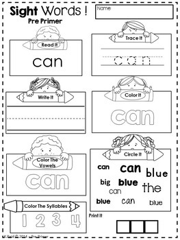 Sight Words Printables and Activities by Kidology By