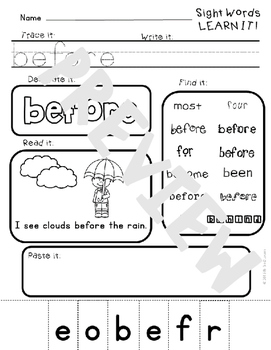 Sight Word Practice Printables- 100 sight words Fountas