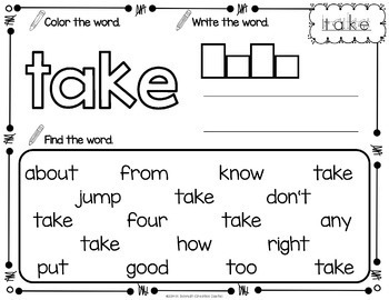 Sight Word Printables with First Grade Sight Words by