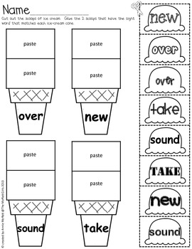 Sight Word Scoops (Fry's 2nd 100 Sight Words) by The