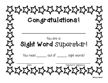 Sight Word Superstar Certificate by Sunny in Second Grade