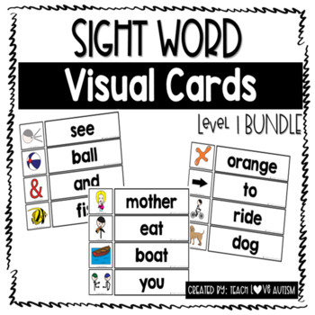 Sight Word Wall and Matching Cards Level 1 BUNDLE by Teach