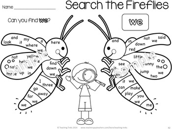 Sight Words Worksheets: Bugs and Insects Kindergarten by