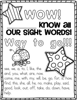 Sight Word Worksheets 40 Kindergarten Words by Sunshine