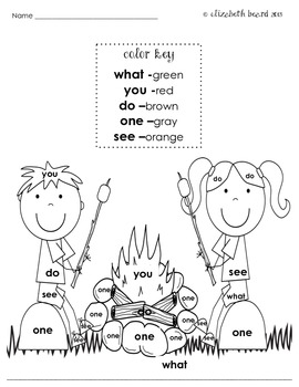 Sight Words Coloring Kindergarten: Summer Themed by ... | colouring sheets for kindergarten