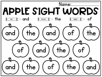 Apples Sight Words Coloring Sheets Fall Kindergarten 99