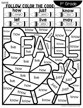Sight Words Fall Coloring Sheets with 1st Grade Words by