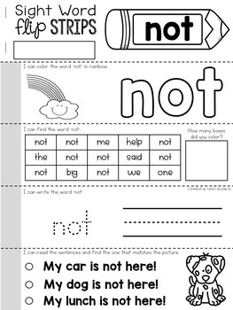 Sight Words Flip Strips with Reading & Comprehension (Pre