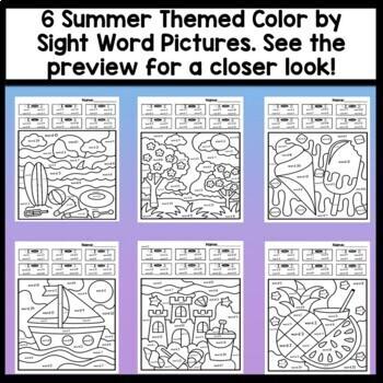 Sight Word Coloring Sheets for Summer {8 Pages!} by Sight