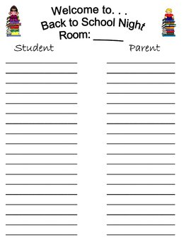 Sign in Sheets (Open House & Back to School Night) by