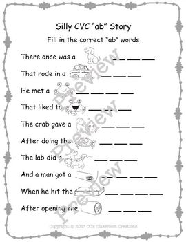Silly Cvc Ab Story Worksheet Puzzles And Flashcards