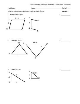 Similar Figures Amp Proportions Worksheet By Math Is Easy As