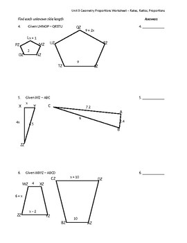 Similar Figures & Proportions Worksheet by Math is Easy as