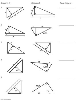 Similar Right Triangles Partner Worksheet by Mrs E Teaches