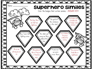 Simile Superheroes: Figurative Language Fun by SSSTeaching