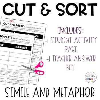 Similes and Metaphors (Figurative Language) Cut and Paste