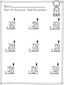 Simple 3 Digit Addition Worksheets ( No regrouping ) by