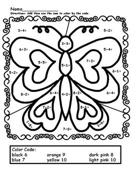 Simple Addition Color by Numbers (worksheets) by Mollie