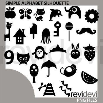 simple alphabet silhouette clipart