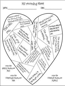 Simple, Compound, Complex Sentences! Valentine Hands-On