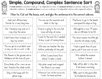 Simple Compound And Complex Sentence Sort By Rock Paper