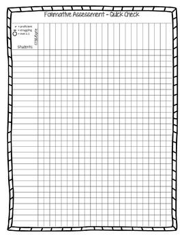 Simple Formative Assessment Check Off Data Tracker by