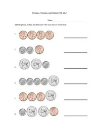 Simple Penny, Nickel, and Dime Addition Worksheet by Amy ...