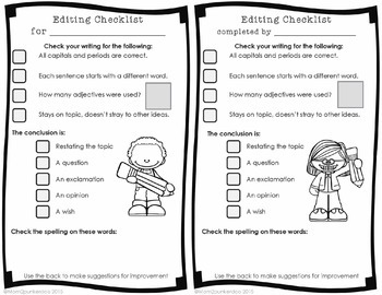 Tools For Writers: Peer Editing Checklist, Feedback Rubric