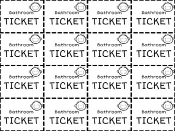 Printable Bathroom Tickets by Journey of a Future Teacher