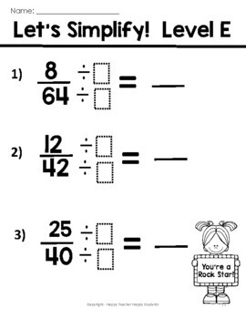 Simplifying Fractions: 6 Leveled Worksheets, Test (Quiz