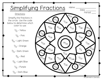 Simplifying Fractions Coloring Worksheet FREE by Math in
