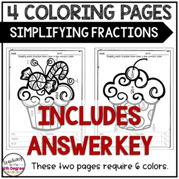 Simplifying Fractions: Holiday Coloring Pages by Teaching