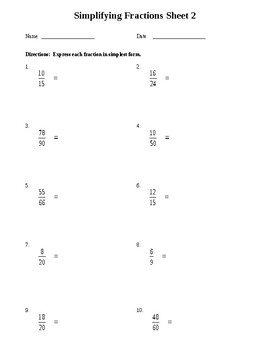 Simplifying Fractions Worksheet By Fun Finds For Teachers