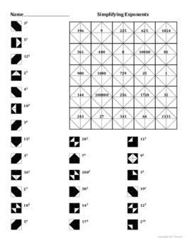 Simplifying Simple Exponents Coloring Worksheet by Aric