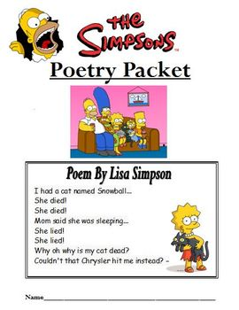 Simpsons Themed Poetry Packet (Excellent for figurative language and poetry)