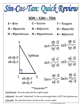 Sin Cos Tan : Right, Triangles, Quick, Review, Freebie!, Secondary
