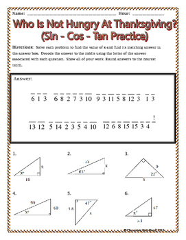 Sin Cos Tan : Right, Triangles, Thanksgiving, Riddle, Worksheet