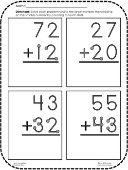 Addition Worksheets Touch Dots Single Double Digit No