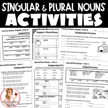 Singular and Plural Nouns Activities with Interactive