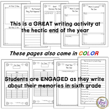 6th Grade Memory Book in BW and Color with Lots of Page