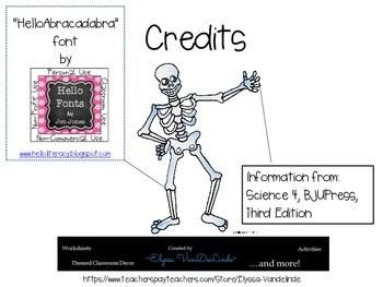 Skeletal System Worksheet (BJU Press) by Elyssa VanDeLinde