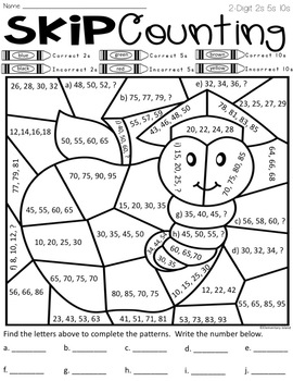 Skip Counting Worksheets Color by Code Differentiated by